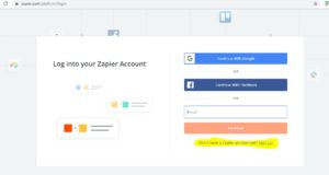 Zapier Login signUp Screen