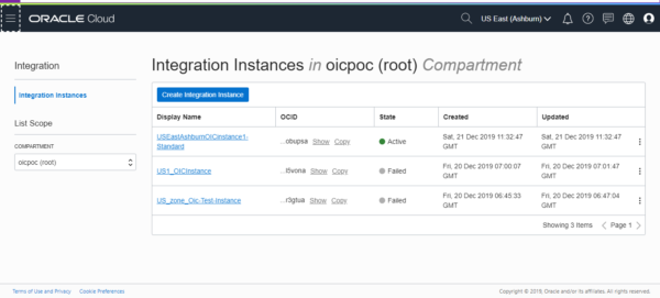 Oracle OIC create instance
